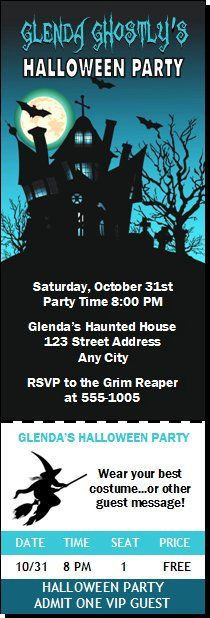 Vampire Cartoon Halloween Party Ticket Invitation from Print Villa - party ticket invitations