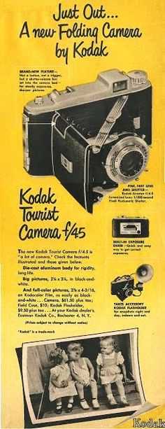 Vintage Camera Just out. a new folding camera by Kodak. Brand new feature - not a button, not a trigger but a shutter release bar set into the camera b. Antique Cameras, Old Cameras, Vintage Cameras, Vintage Advertisements, Vintage Ads, Vintage Posters, Vintage Stuff, Photography Camera, Vintage Photography