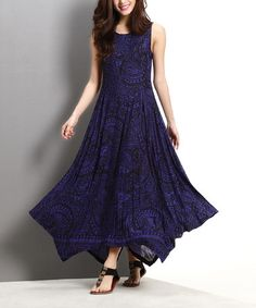 Loving this Blue & Black Paisley Handkerchief Maxi Dress on #zulily! #zulilyfinds