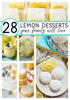 28 lemon desserts your family will love. These lemon recipes are sure to become your family's favorite! Lemon Dessert Recipes, Lemon Recipes, Just Desserts, Delicious Desserts, Yummy Food, Banana Split Dessert, Pizza, Baked Banana, Food To Make