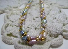 Vintage Genuine Potato Pearl Necklace Triple Multi Colored Twisted Strand Gold Filled Beads