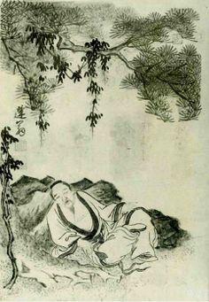 """윤덕희필 송하오수도(尹德熙筆松下午睡圖) """"Napping Under the Pines"""" by Yun Deok-Hui (1685-1766) Joseon Period"""