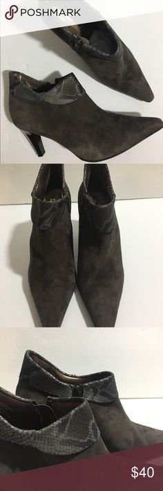 """Peter Kaiser Boots Peter Kaiser booties. Suede materials with snake print trim.  3"""" inch heel. Pre loved, but in great condition Peter Kaiser Shoes Heeled Boots"""