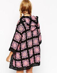 Image 2 ofASOS Premium Hand Crochet Cardigan With Hood