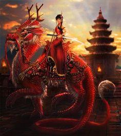 female chinese swordsman riding red oriental dragon