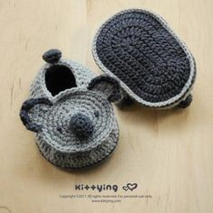 Looking for your next project? You're going to love Koala Bear Baby Booties Crochet PATTERN by designer KittyingYing.