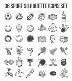 36 Vector Sport Silhouette Icons Set by painterr Collection of 36 vector sport silhouette gray icons set. Separated to four EPS10 and AI files.