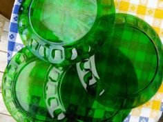 French Retro Green Glass Plates Set of 4 by FromParisToProvence, €29.00