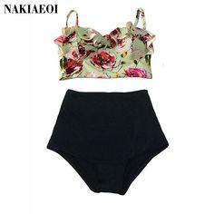 a1b2487cac Grab our Vintage Retro Floral Print High Waist Push Up Bikini Set Swimwear  on-sale