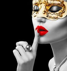 image of masquerade - Black and white portrait of Beauty model woman wearing venetian masquerade carnival mask at party isolated on black background - JPG