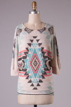 Mint and Pink Aztec Tunic Top