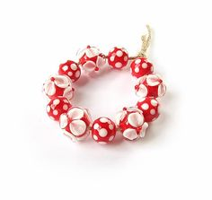 Handmade Lampwork Glass Beads Set, Lampwork Beads, Murano Glass, Floral Glass Beads, Polka Dot Beads, White, Red