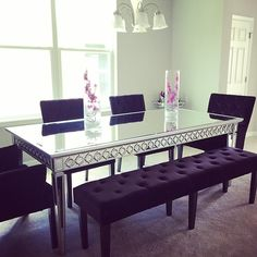 It looks like @a_sullivan03 is on the right track for a chic dining room! Features our Sophie Mirrored Dining Table and Lola Bench & Side Chairs.