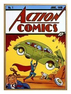 Superman Comic Book, 1938 Action Comics number one poster reproduction.