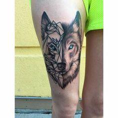 Half Geometric Wolf with Blue Eyes Thigh Tattoo