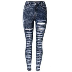 Choies Dark Blue High Waist Extreme Distressing Ripped Skinny Jeans