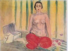 Odalisque in Red Pants elegantly painted by Henri Matisse. A semi-nude odalisque sitting on her bed in sexy red pants. Henri Matisse, Matisse Art, Matisse Pinturas, Modern Art, Contemporary Art, Art Critique, Matisse Paintings, Red Pants, Red Trousers