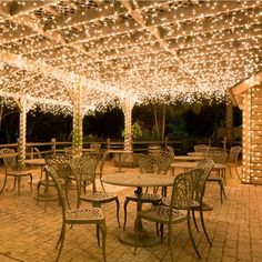 Put lights under the outside patio. Hang white icicle lights to create magical outdoor lighting. This idea works well for decks, patio lights and covered porches. Imagine these icicle lights at an outdoor wedding reception? Icicle Lights, Led Fairy Lights, Solar Lights, String Lights, Light String, Twinkle Lights, Fairy Lights Ceiling, Net Lights, Outdoor Fairy Lights