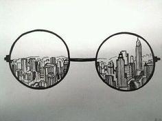 """drawing idea, with a corrupt, damaged, war-ridden city behind it. """"Behind the lense"""" Could also do with camera and Photoshop instead of glasses"""