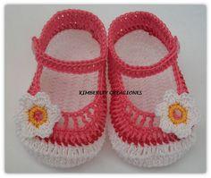 Zapaticos bebe crochet elaborado por Kimberley Creaciones