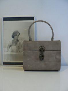 vintage 1950s grey vinyl box purse / 50s evening by secreteyesonly, $44.99