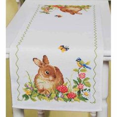 Easter Time Bunny Table Runner Counted Cross-Stitch Kit - Herrschners