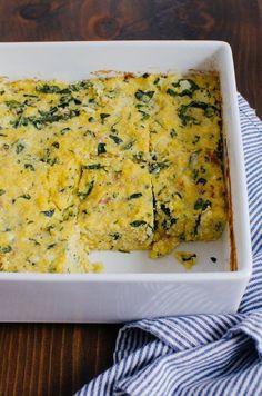 Mamaliga la cuptor cu spanac si bacon - www.Foodstory.ro