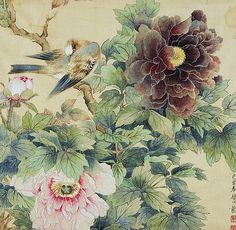 Birds and Peonies by an unknown Chinese artist