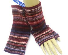 Hermione's Deathly Hallows fingerless gloves - Lambswool Stripe Wristlets Made in Scotland By MyCosyStore