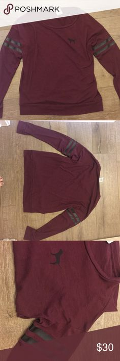 Burgundy dog pink Victoria secret long sleeve Make me an offer! 😊⬇️😊⬇️😊⬇️😊I will always counter with my lowest. Please do not discuss price over comments. Im happy to answer any other questions!  Bundle and save!   🕶🕶🕶🕶🕶🕶🕶🕶🕶🕶 Condition: Like new. No flaws.  Other: keep in mind, I am only 5 ft.  Ships to you same or next day! PINK Victoria's Secret Tops Tees - Long Sleeve