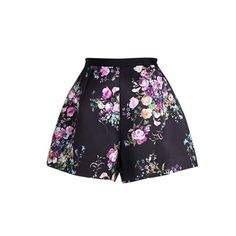 High Waist Floral Print Hot Pants SH0160028 (62 RON) ❤ liked on Polyvore featuring shorts, mini shorts, floral printed shorts, short shorts, high-rise shorts and high waisted hot shorts