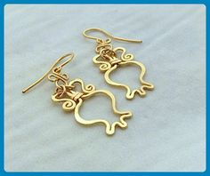 Gold Pomegranate Earring, Drop dangle Pomegranate earrings handcrafted in 14k Gold filled. Judaica jewelry RIMON earrings. - Wedding earings (*Amazon Partner-Link)