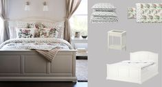 BIRKELAND white bed with EMMIE BLOM quilt cover/pillowcases and EMMIE BLOM bedspread/cushion covers both with floral pattern