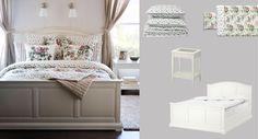 Valkoinen BIRKELAND-sänky sekä kukalliset EMMIE BLOM -pussilakanat ja -päiväpeitto