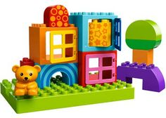 LEGO DUPLO Toddler Build & Play Cubes. A colourful and imaginative set of LEGO Duplo blocks. This collection of 17 bricks and elements include 3 window cubes and a bear