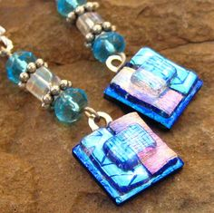 Blue Dichroic Fused Glass Drop Earrings by GlassCat on Etsy, $22.00  Love dichroic glass!