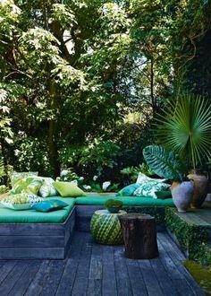 Une terrasse aux couleurs pepsy aqua - Marie Claire Maison