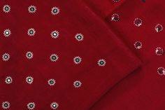 Handwoven Mashru Fabric with Kutch Embroidery 1028897 -  / Fabric by meter - Parisera
