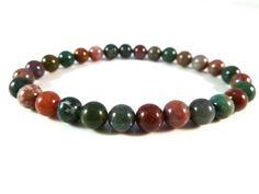 Fancy Jasper Stretch Bracelet 6mm Smooth Round Gemstone Beads Indian Agate by SandiLaneFineArt on Etsy