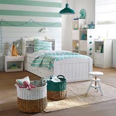 Narzuta na łóżko w paski, 100% bawełny tkanej zprzędzy farbowanej, Pégalie
