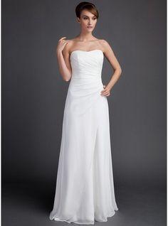 Sheath/Column Sweetheart Sweep Train Chiffon Wedding Dress With Ruffle