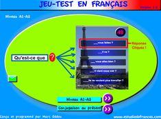 Test FLE sous forme de jeu, français niveau A1-A2