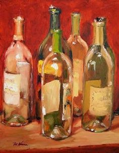 "Still Life Artists International: Still Life Wine Bottle Art Painting ""Uncorked Wine Bottles"" by Georgia Artist Pat Warren"