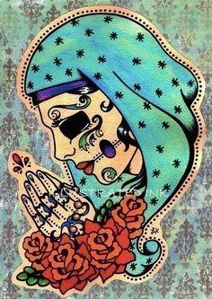 Dia de los Muertos Art Print  would make a killer tattoo