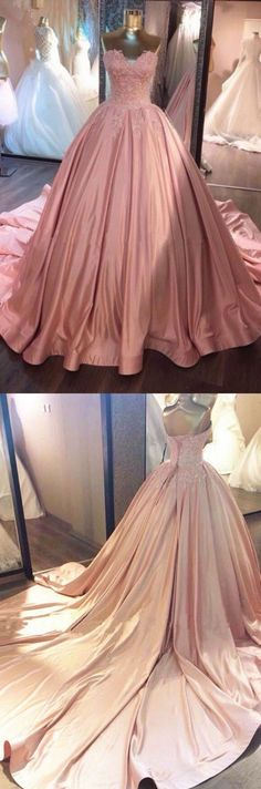 Pink Prom Dress, Long Prom Dresses, Sleeveless Prom