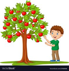 Cartoon boy picking apples from apple tree Vector Image , Cartoon Boy, Cartoon Images, Free Vector Images, Vector Free, Bee Pictures, Tree Images, Painting For Kids, Rock Painting, Apple Tree