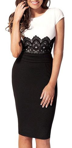 Crochet bandage pencil dress white top knee-length black form-fitting skirt w/ black lace transition at uper waist