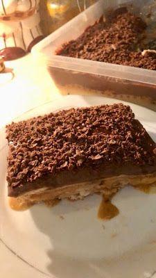 ΜΑΓΕΙΡΙΚΗ ΚΑΙ ΣΥΝΤΑΓΕΣ 2: Γλυκάκι ψυγείου με κρέμες μπισκότα κ καραμέλα !!! Sweets Recipes, Desserts, Greek Recipes, No Cook Meals, Tiramisu, Sweet Tooth, Cookies, Cake, Ethnic Recipes