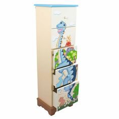 Fantasy Fields Dinosaur Kingdom 5 Drawer Tall Cabinet, As Shown Non Toxic Paint, Kids Storage, Furniture Companies, Inspired Homes, 5 D, Gifts For Kids, Drawers, Hand Painted, Fields
