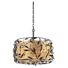 Elegantly illuminate your foyer or dining room with this eye-catching pendant, showcasing a vine-inspired drum design and deep rust finish.